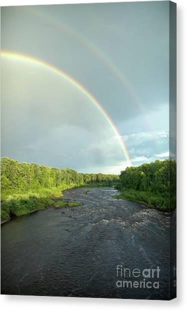 Rainbow Over The Littlefork River Canvas Print