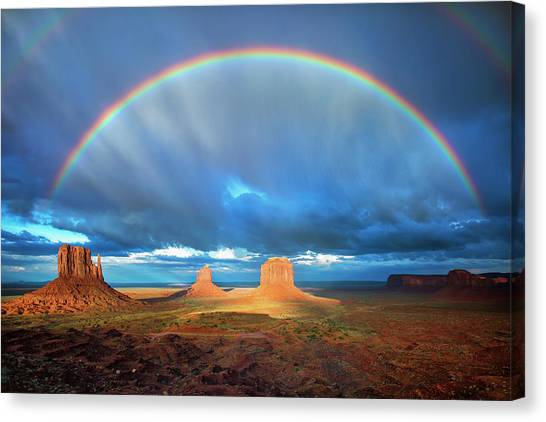 Rainbow Over The Mittens Afternoon Canvas Print