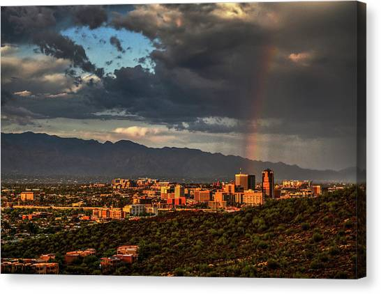Canvas Print featuring the photograph Rainbow Over Tucson by Chance Kafka