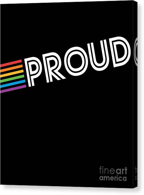 Canvas Print featuring the digital art Rainbow Proud Lgbtq Gay Pride by Flippin Sweet Gear