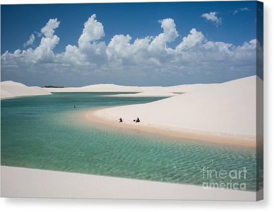 South American Canvas Print - Rainwater Lagoon And Sand Dunes In by Vitormarigo