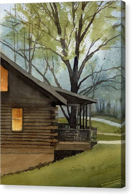Rainy Day At Harmonie Park Canvas Print