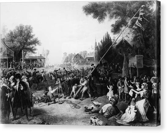Raising The Liberty Pole In New York Canvas Print by Hulton Archive