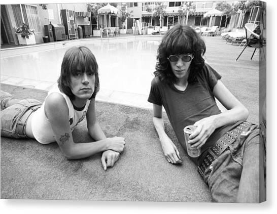 Ramones Lounging Poolside Canvas Print
