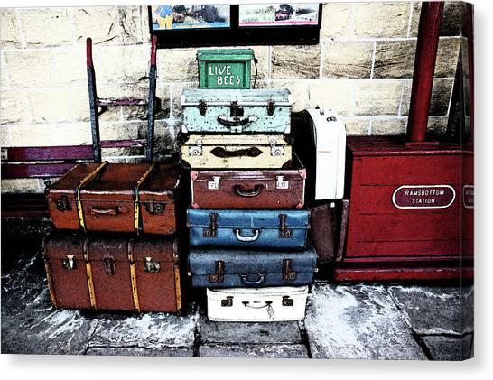 Ramsbottom.  Elr Railway Suitcases On The Platform. Canvas Print