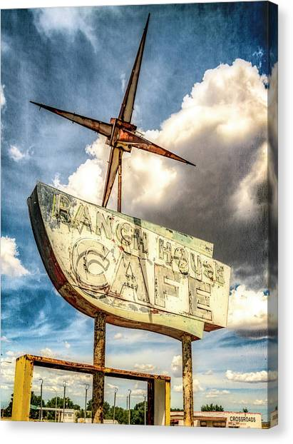Canvas Print featuring the photograph Ranch House Cafe by Lou Novick