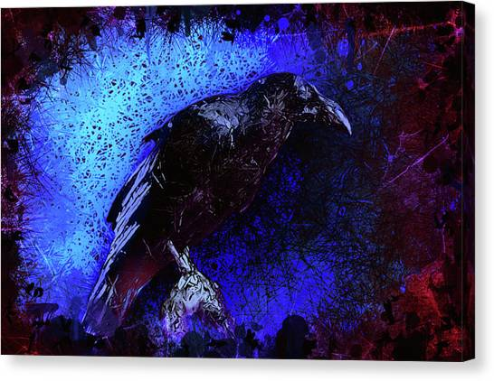 Canvas Print featuring the mixed media Raven by Al Matra