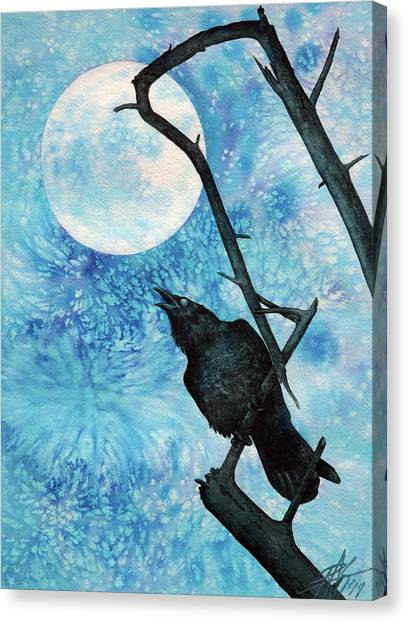 Raven With Torrey Pine Branch And Cold Moon Canvas Print by Robin Street-Morris
