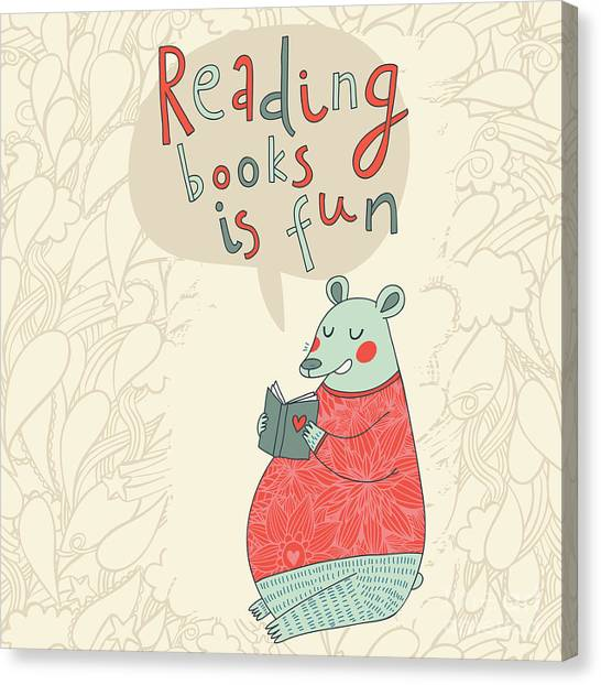 Student Canvas Print - Reading Books Is Fun - Cartoon Stylish by Smilewithjul