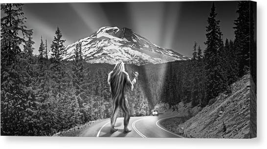 Canvas Print - Rear View Of A Sasquatch Hitchhiking by Panoramic Images