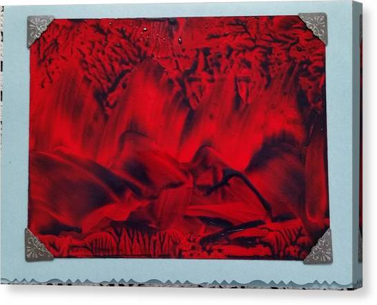 Red And Black Encaustic Abstract Canvas Print