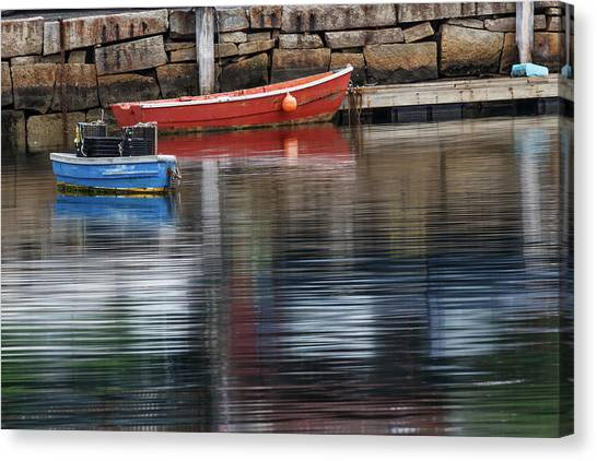 Red And Blue Row Boats On Rainy Day Canvas Print by Adam Jones