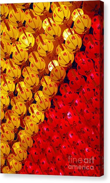 Red And Yellow Lanterns Hanging In Kek Canvas Print by Tan Yoke Liang
