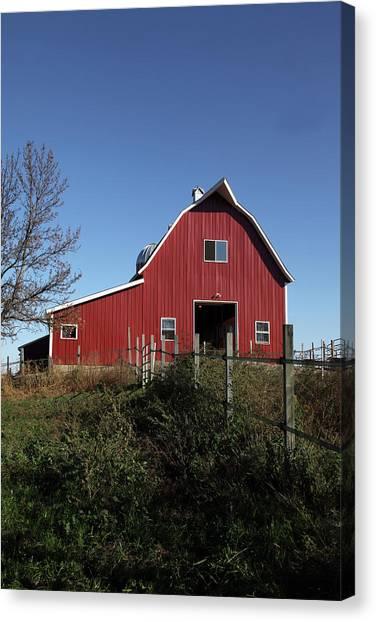 Centennial Canvas Print - Red Barn, Fence & Blue Sky by Akaplummer