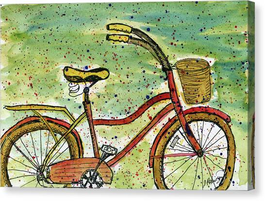 Red Bicycle Yellow Seat Canvas Print