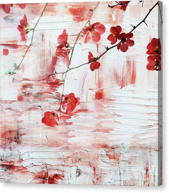 Blossom Canvas Print - Red Blossom by Jacky Gerritsen