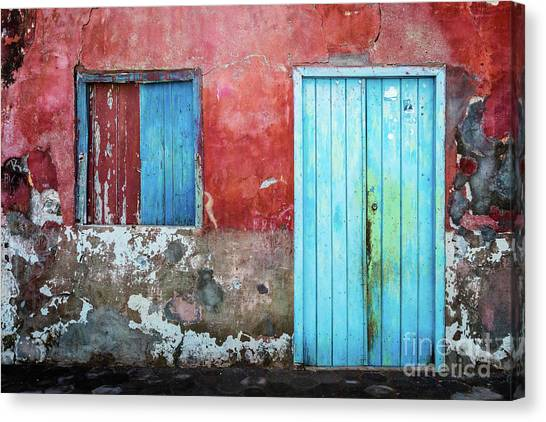 Red, Blue And Grey Wall, Door And Window Canvas Print