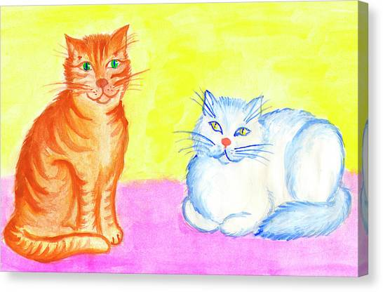 Main Coons Canvas Print - Red Cat And White Cat by Dobrotsvet Art