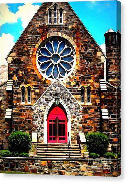 House Of Worship Canvas Print - Red Church Door Bethlehem Pa by Janine Riley