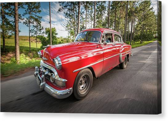 Red Classic Cuban Car Canvas Print