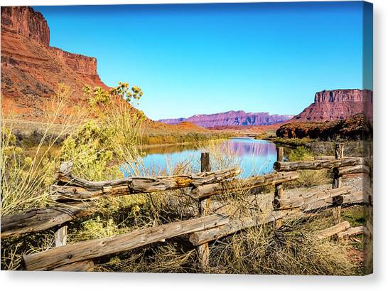 Canvas Print featuring the photograph Red Cliffs Canyon by David Morefield