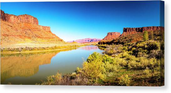 Canvas Print featuring the photograph Red Cliffs Canyon Panoramic by David Morefield