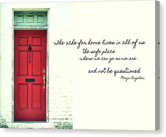 Red Door Quote Canvas Print