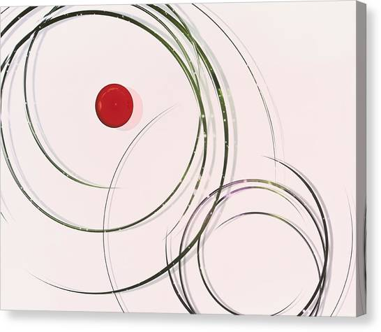 Indoors Canvas Print - Red  Dot Within Circles by Hiroshi Yagi