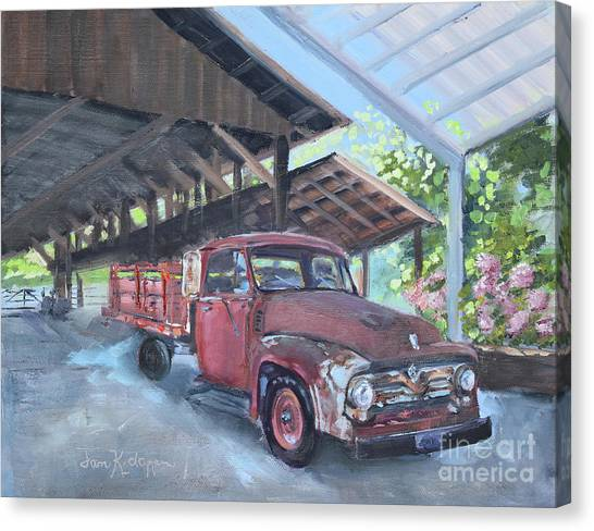 Canvas Print featuring the painting Red Ford And Pink Flowers by Jan Dappen