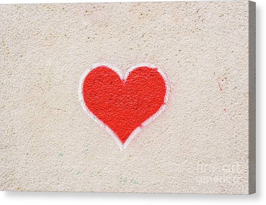 Red Heart Painted On A Wall, Message Of Love. Canvas Print