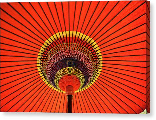 Red Japanese Paper Umbrella Opened Canvas Print