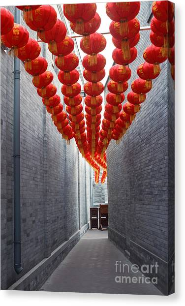 Happiness Canvas Print - Red Lantern In The Alley,beijing by Long8614