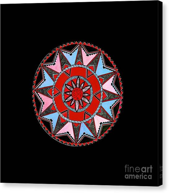 bc5e58c74 Polynesian Tribal Canvas Print - Red Black Native Maori Mandala by Naomi  Matthew