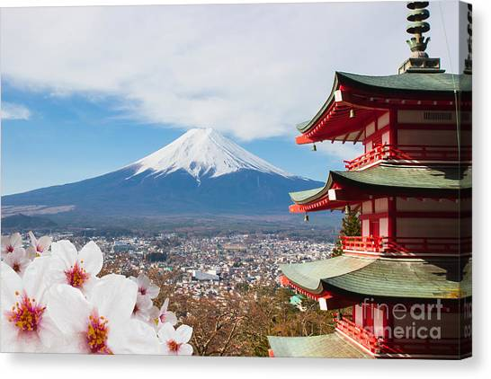 Symbols Canvas Print - Red Pagoda With Mt Fuji Background And by Tnshutter