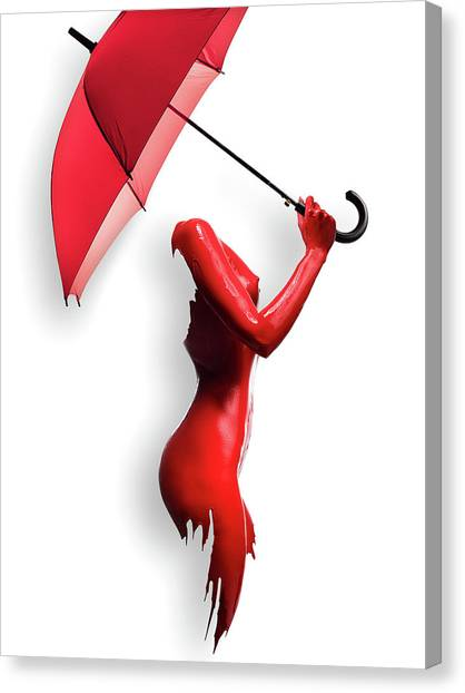 Abstract Nude Canvas Print - Red Painted Body With Umbrella by Johan Swanepoel