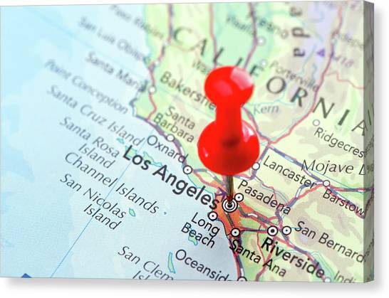 Soft Focus Canvas Print - Red Pin Pointed On The Los Angeles Map by Yorkfoto
