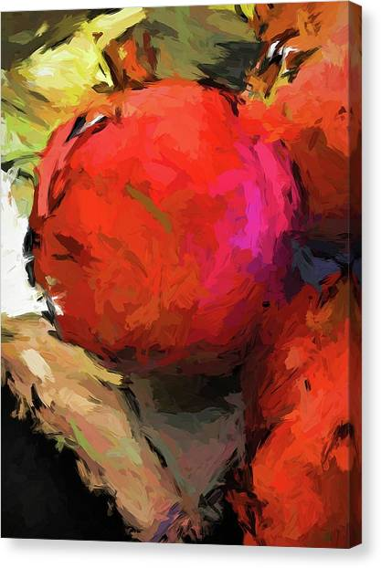 Red Pomegranate In The Yellow Light Canvas Print
