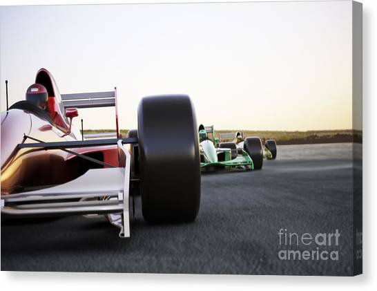Powerful Canvas Print - Red Race Car Close Up Front View On A by Digital Storm