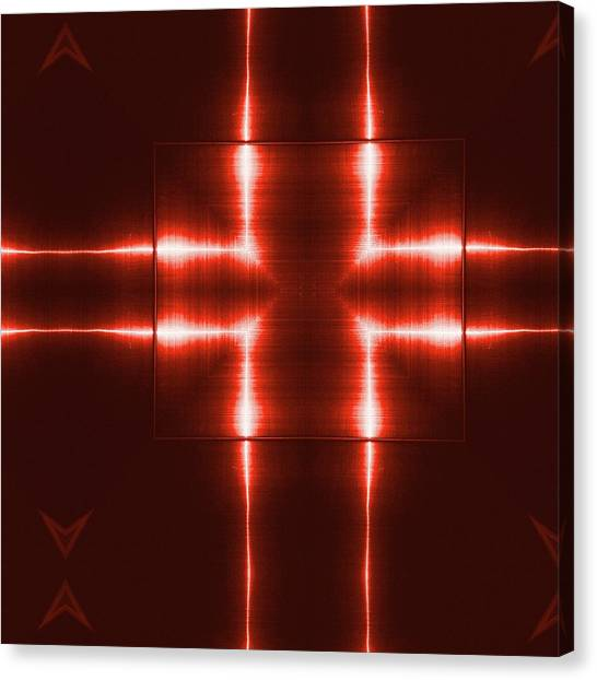 Fashion Plate Canvas Print - Red Reflecting Metallic Surface. Technological  Background.  by Rudy Bagozzi