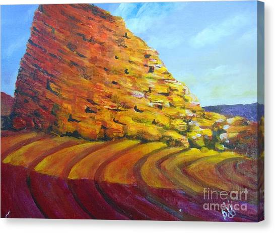 Canvas Print featuring the painting Red Rocks by Saundra Johnson