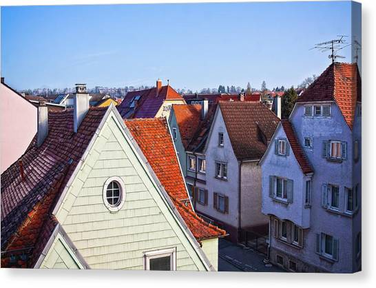 Canvas Print featuring the photograph Red Roofs In Donaueschingen, Germany by Tatiana Travelways
