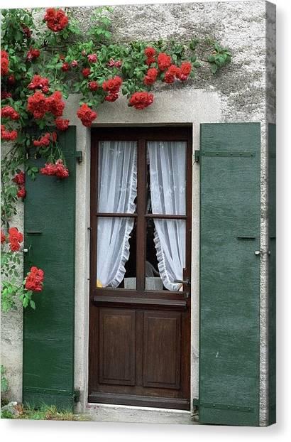Red Rose Door Canvas Print