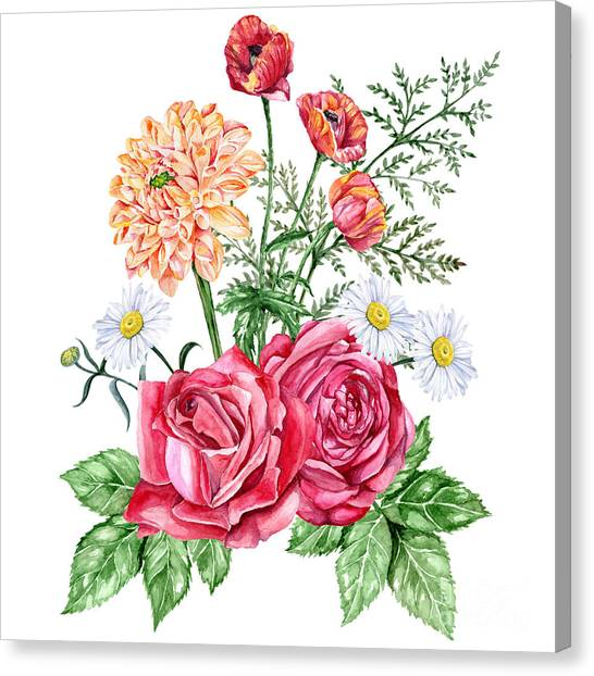Dahlia Canvas Print - Red Roses, Orange Dahlias, Poppies And by Jena velour