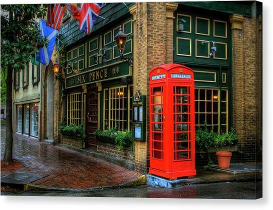 Red Telephone Booth At Six Pence Pub Canvas Print