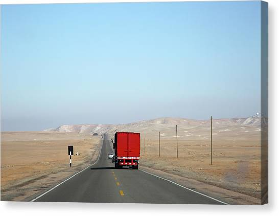 Red Truck Brightens Up Pan American Canvas Print by Rosemary Calvert