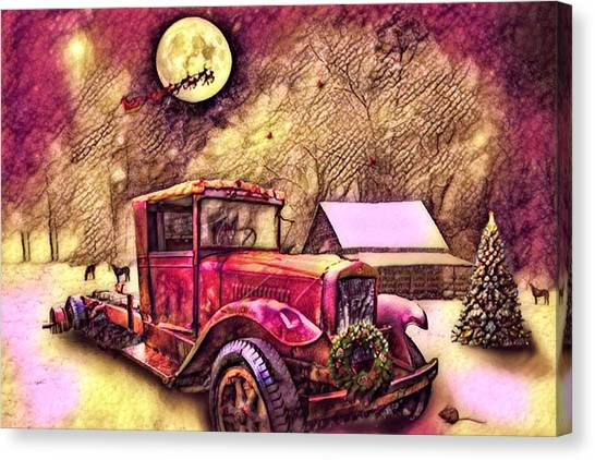 Rusty Truck Canvas Print - Red Truck On Christmas Eve Reds And Golds by Debra and Dave Vanderlaan
