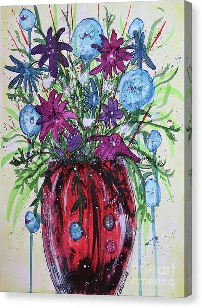 Canvas Print - Red Vase Of Whimsy Abstract  by Cathy Beharriell