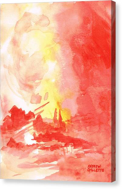 Red Village Abstract 1 Canvas Print