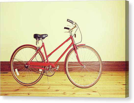 Red Vintage Retro Bicycle Abstract Canvas Print by Eyecrave