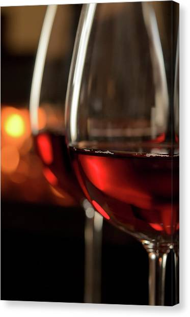 Red Wine By The Fire Canvas Print